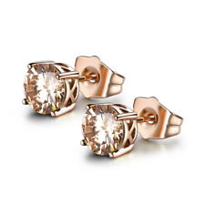 Charming 18K Rose Gold Filled Yellow Citrine Cubic Zirconia Women Stud Earrings