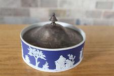 Antique Wedgwood Cobalt Blue Jasper Ware Large Covered Butter Dish (c.1900)