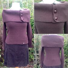 TED BAKER Bardot Cold Shoulder Jumper Sweater Angora Wool Mix Buttons Size1 8-10