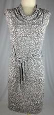 MERONA Gray Floral Cap Sleeve Cowl Neck Above Knee Knit Dress Women's XS PRETTY!