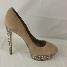 Brian Atwood Womens 8.5 M Tan Brown Suede Leather Stiletto High Heels Rhinestone