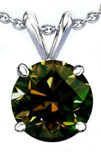 2.10 Ct Vs1/Champagne Brown White Round Moissanite Diamond 925 Silver Pendant