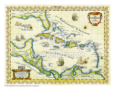 "19.5 x 25"" Caribbean Vintage Look Map Printed on Frenchtone Parchment Paper-GRN"