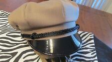 VINTAGE STYLE BIKER ROAD CAPTAIN'S HAT - KHAKI - PLAIN HAT - NO PATCH !!