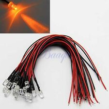 20PCS 5MM ORANGE COLOR PRE WIRED LED 12V DC 20cm CAR BOAT MA436 MA