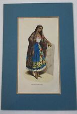 Puebla Indian. Central Mexico. S. Hand-Colored wood block engraving. 1845.