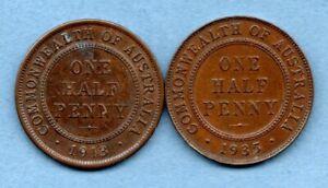 1913 & 1935 AUSTRALIA HALFPENNY COINS. 2 X 1/2d IN A PLEASANT GRADE.