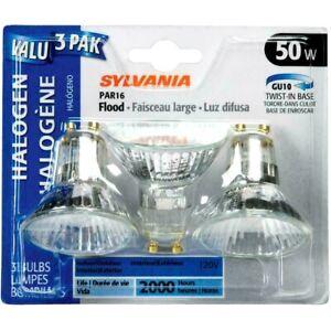 (3 Pack) Sylvania 50W PAR16 GU10 Base Halogen Light Bulbs