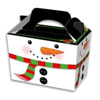 10 Snowman Lunch Boxes - Christmas Gift Party Kids Cupcake Xmas Wrapping Bag