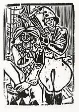 ROLAND R. BERGER - Zwei Clowns - Holzschnitt 1981
