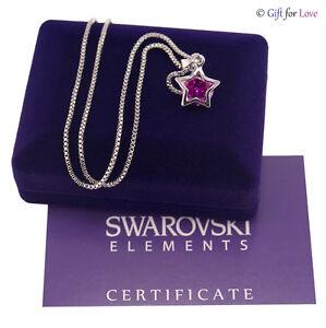 Collana donna argento Swarovski Elements originale G4Love cristallo stella viola
