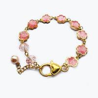 Handmade Gold Plated Pink Flowers Charm Resin Bracelet Women's Gift For Her