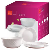 Bormioli Ebro 19 Pcs Dinner Set Toledo White Glass Tableware Dining Plates Opal