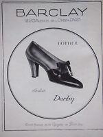 PUBLICITÉ 1927 BARCLAY BOTTIER SOULIER DERBY - ADVERTISING