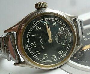 Neat WWII Vintage 1940's Men's Bulova w/ USA Ordnance Military Watch Runs