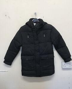 TOPSHOP Longline Puffer Jacket With Hood In Black Size UK8 EUR 36 {Z54}