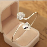 Women Opening Cuff Bangle Love Heart Diamond Alloy Wrist Bracelet Jewelry LE
