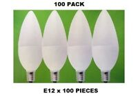 100 Pak! E12 Candelabra LED Light Bulbs Optolight Candle Bulb Soft White 3W, 25W
