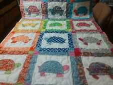 Tortoise Turtle Applique Baby Crib Lap Throw Quilt Handmade Girl Boy Blanket