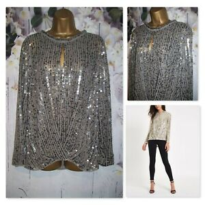 NEW RIVER ISLAND TOP SIZE 14, Stunning Silver Sequin Party Occasion Tunic