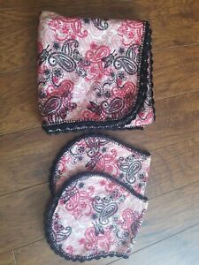 Handmade Receiving Blanket red black paisley butterfly with burp Crochet Edge
