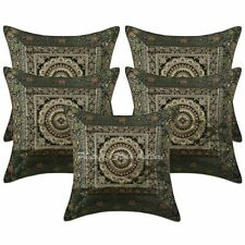 "16"" Cotton Mandala Brocade Pillow Cases Ethnic Set Of 5 Jacquard Cushion Covers"