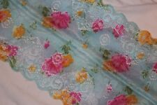 """1 yard Blue Pink Floral lingerie stretch sewing craft trim lace 5.75"""" wide"""