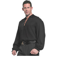 RENAISSANCE Pirate Gothic POET Lace Up Gauze Men's Shirt BLACK M L XL 2XL