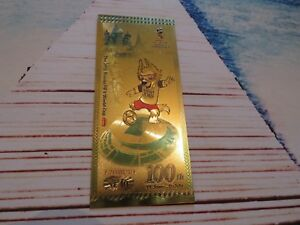 Brand New World Cup 2018 Gold Leaf Mascot Notes - Must See