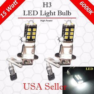 4X Super Bright White H3 15W High Power For Fog Driving DRL LED Light Bulb Lamp