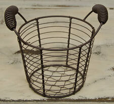 Rustic Farmhouse Wire Egg Basket w/ Handles ~ Primitive Decor