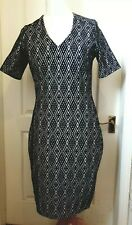 SANDWICH Size XL Dress In Navy And White With Aztec Tile Print And V-Neck