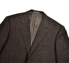 Corneliani Wool Cashmere Mohair Herringbone Jacket 44R Large Blazer Brown Grey