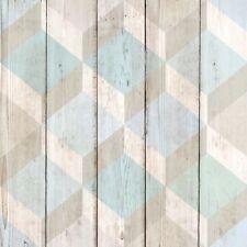 Ideco Home 134502 - Blue Grey Geometric Pattern Wood Wallpaper 3D Cube Shapes