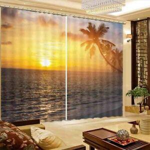 Calm Lake Nice Sunset 3D Curtain Blockout Photo Printing Curtains Drape Fabric
