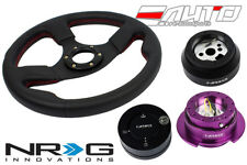 NRG 320 Race Leather Steering Wheel Red/170 Hub/2.5 PP Quick Release/Lock Matt a