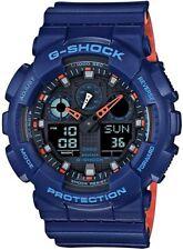 Brand New Casio G-Shock GA100L-2A Military 3-Eye Ana-Digi Blue/Orange Watch