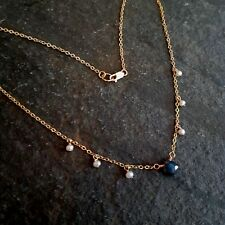 DESIGNER LABRADORITE and FRESHWATER SEED PEARL NECKLACE 18k GOLD FILL JEWELLERY