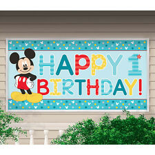 New Mickey Mouse 1st Birthday Plastic 33.5 inch X 65 inch Banner Decoration