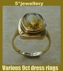 Ladies 9ct 375 pink red yellow gold diamond sapphire topaz iolite dress rings