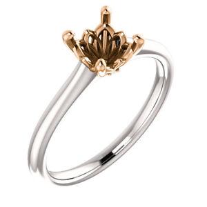 14K White & Rose Gold Round Solitaire Semi Mount Engagement Bridal Wedding Ring