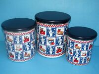 2002 Pillsbury Doughboy All American 6 Pc Storage/Canister Set w Wooden Lids FS!