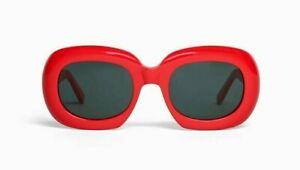 CELINE CL40070I Oversized Red Frame Gray Lens Oval Sunglasses