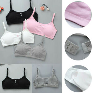 4Pcs Cotton Puberty Teenage Underwear Sport Training Breathable Kids Girls Bra