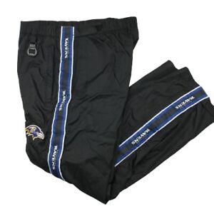 NFL Baltimore Ravens men's Medium Black Rain Vented Wind Tailgate Pants