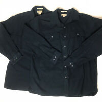 Lot 2 Vtg LL Bean chamois Button Up Shirt Mens Xl Traditional Fit Dark Blue