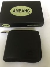MENS LEATHER WALLET BLACK AMBANC ZIP AROUND 9 CARDS LARGE +COIN POCKET   ( 607)