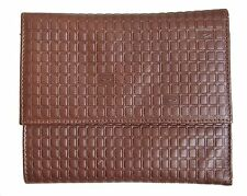 VALENTINO BROWN LEATHER TRIFOLD WALLET