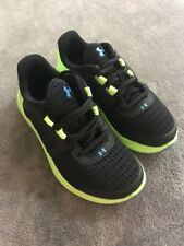 New Under Armour Boys BGS Micro G Fuel RN Black green Sneakers 11K 1285439-001
