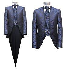Cutaway Gehrock Herren Anzug 3 teilig Gr.60 blau lila